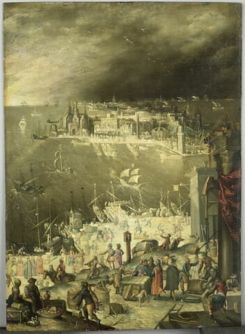 Vue d'un port de mer, avec scènes de commerce sur le quai