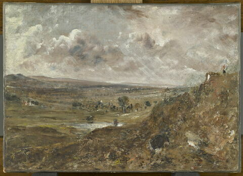 Vue de Hampstead Heath, environs de Londres, effet d'orage ou L'Étang de Branch Hill à Hampstead