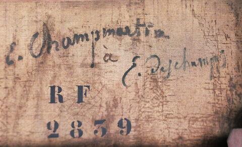 dos, verso, revers, arrière ; détail inscription © 2019 Musée du Louvre / Peintures