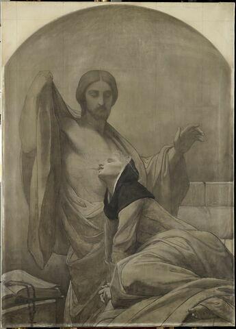 La communion mystique de sainte Catherine de Sienne, dit parfois à tort La communion mystique de sainte Claire. Grisaille inachevée.