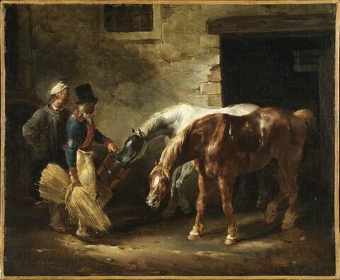 Deux chevaux de poste à la porte d'une écurie
