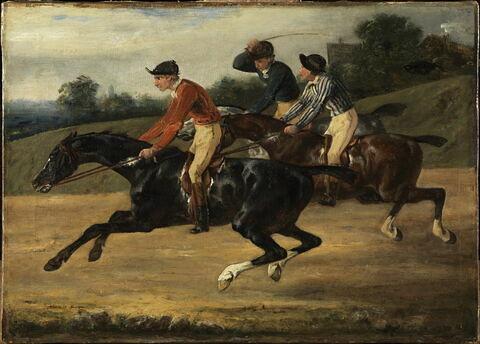 Course de chevaux montés, allant à gauche au galop