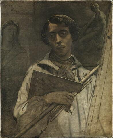 Portrait de l'artiste tenant une palette.