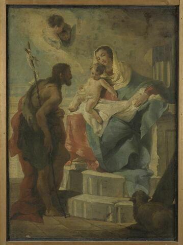 Bannière à deux faces ; d'un côté, Saint Martin officiant (saint Maxime de Padoue ?) ; de l'autre, La Vierge et l'Enfant avec saint Jean Baptiste