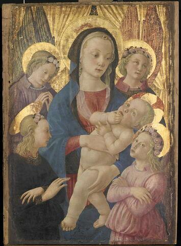 La Vierge et l'Enfant entourés de quatre anges