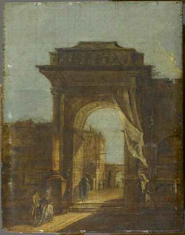 Porte monumentale à l'entrée d'une ville, avec figures