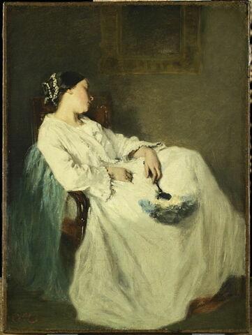 Femme assise, endormie