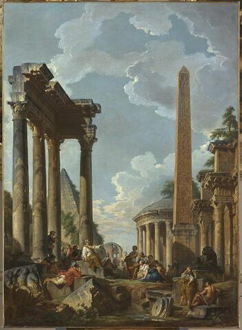 Caprice architectural avec prédicateur dans des ruines romaines