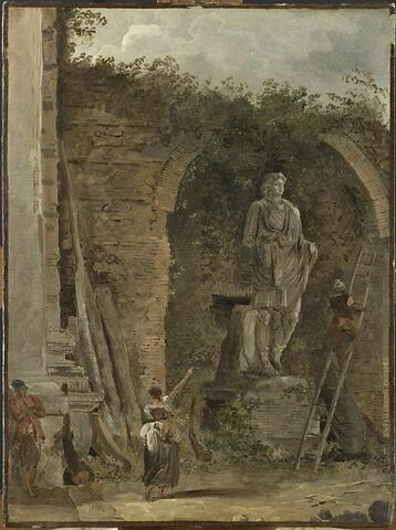 Paysage avec une statue dans une niche