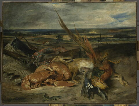 Tableau de nature morte, dit Nature morte au homard et trophées de chasse et de pêche