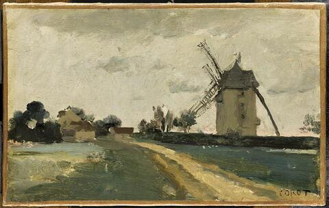 Moulins à vent jumeaux sur la butte de Picardie (environs de Versailles).