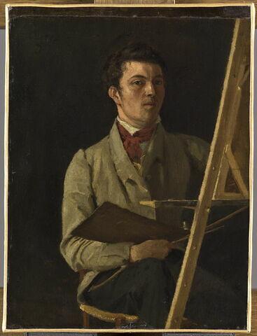 Portrait de l'artiste, assis près d'un chevalet.