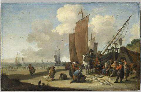 Marchands de poissons sur une plage