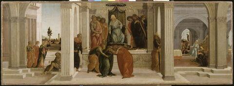 Scènes de l'histoire d'Esther : la lamentation de Mardochée, l'évanouissement d'Esther en présence d'Assuérus, le grand vizir Aman implore en vain sa grâce auprès d'Esther.