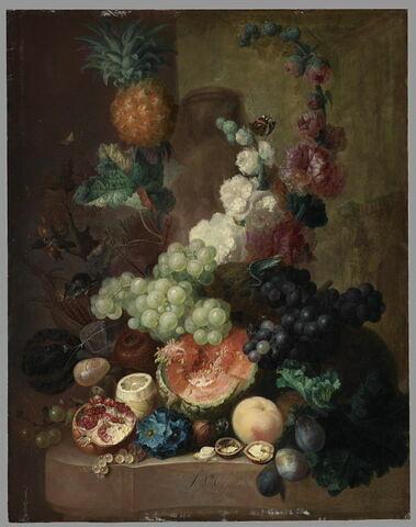 Fleurs et fruits sur une corniche de pierre, avec souris et lézard