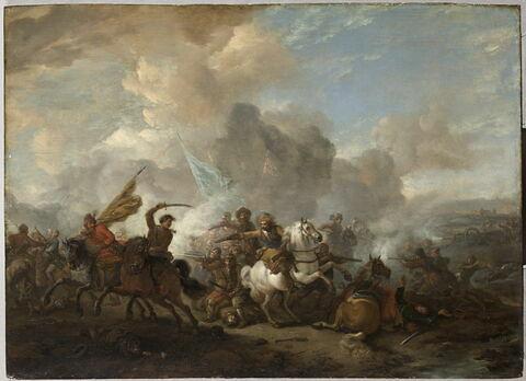 Combat de cavaliers et de fantassins entre Orientaux et Impériaux