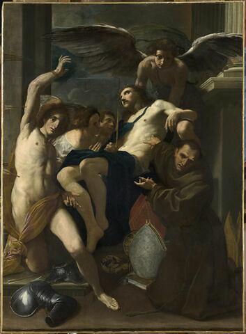 Le Christ adoré par les anges, saint Sébastien et saint Bernardin