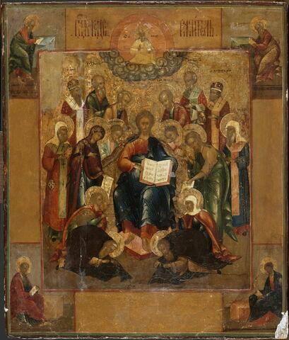 Le Christ trônant, entouré de deux anges et de saints ; aux angles, les quatre évangélistes et,dans la partie supérieure, Dieu le père bénissant