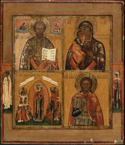 Icône quadripartite : au registre supérieur, à gauche, Saint Nicolas, avec dans la partie supérieure les fidu Christ et de la Vierge, à droite, la Vierge de Théodore, dite de Kostroma (ou Feodorovskaïa) ; au registre inférieur, à gauche, Notre-Dame de tous les affl, à droite, Saint Nicétas ; sur les bords, à mi-hauteur, l'Ange gardien (à gauche) et Sainte Pélagie (à droite).