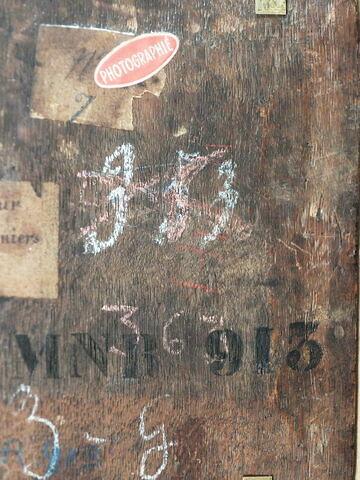 dos, verso, revers, arrière ; détail inscription ; détail marquage / immatriculation © 2017 Musée du Louvre / Peintures