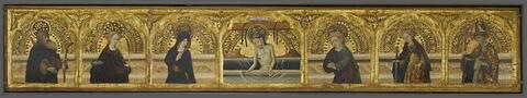 Le Christ de pitié entouré à gauche de saint Antoine abbé, de sainte Lucie et de la Vierge, et à droite de saint Jean l'Evangéliste, de sainte Catherine et d'un saint évêque