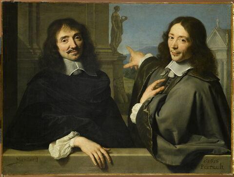 Portrait de deux hommes devant une statue antique inspirée de la Flore Farnèse de Naples