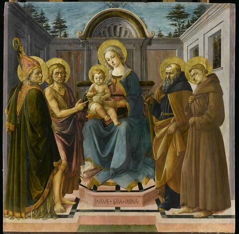 La Vierge et l'Enfant entre saint Zanobie (?), saint Jean Baptiste, saint Antoine abbé et saint François