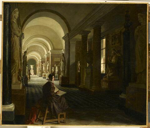 Vue des salles des antiques, prise de la salle de Pan, au Musée du Louvre