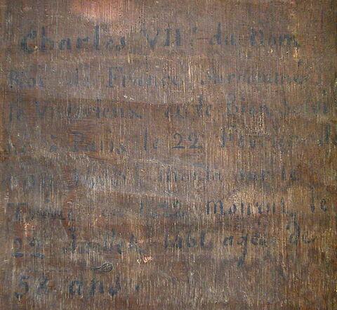dos, verso, revers, arrière ; détail inscription © 2004 Musée du Louvre / Peintures
