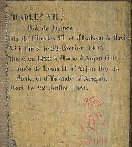 dos, verso, revers, arrière ; détail inscription ; détail marquage / immatriculation © 2004 Musée du Louvre / Peintures