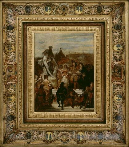Puget présentant sa statue de Milon de Crotone à Louis XIV,dans les Jardins de Versailles