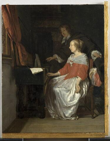 Joueuse de virginal et chanteur préparant unmorceau de musique ou Leçon de musique