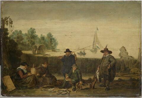 Pêcheurs sur la rive d'un fleuve