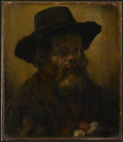 Vieillard à barbe, coiffé d'un chapeau