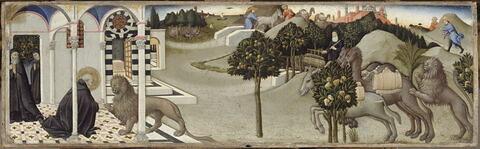 Saint Jérôme enlève une épine de la patte du lion. Deux voleurs dérobent l'âne du couvent que le lion ramène avec deux chameaux chargés de marchandises