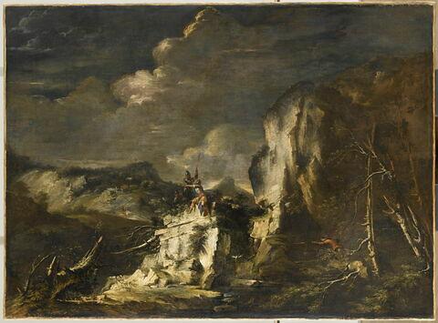 Paysage rocheux avec un chasseur et des guerriers