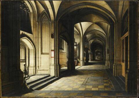 Intérieur d'église imaginaire. Effet de nuit.