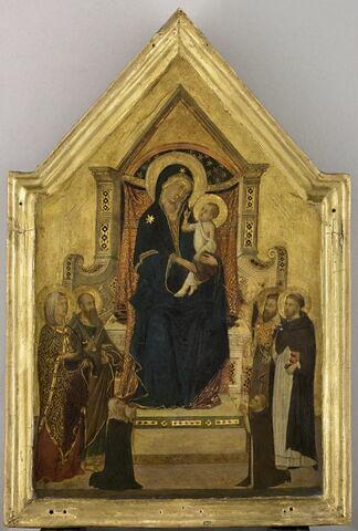La Vierge et l'Enfant sur un trône entourés de quatre saints (à gauche, une sainte non identifiée et saint Paul, à droite, saint Pierre [ou saint Barthélémy ?] et saint Dominique) ; à la partie inférieure, deux donateurs agenouillés