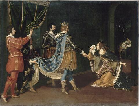 Isabelle d'Aragon implorant Charles VIII en faveur de son père, Alphonse, roi de Naples, et de son mari, au moment de la conquête du royaume de Naples par les Français en 1494