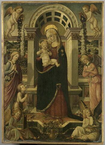 La Vierge et l'Enfant entourés de six anges et du petit saint Jean Baptiste