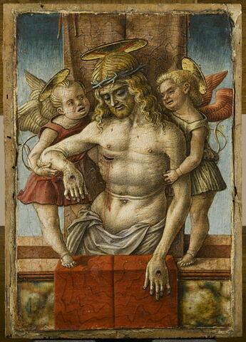 Le Christ mort au tombeau soutenu par deux anges