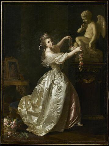 Jeune fille s'apprêtant à orner la statue de l'Amour d'une guirlande de fleurs