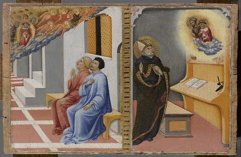 L'Apparition de saint Jérôme, entouré d'anges et de saints, à Sulpice Sévère et un compagnon, puis, aux côtés de saint Jean Baptiste, à saint Augustin