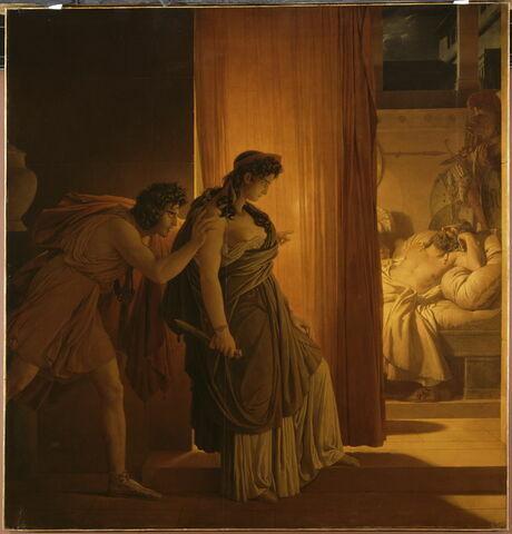 Clytemnestre hésite avant de frapper Agamemnon endormi. Égisthe, son complice, la pousse