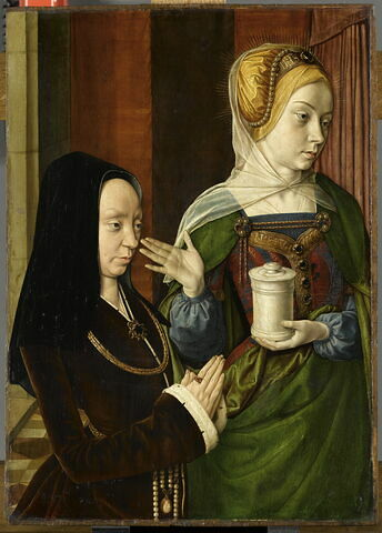 Portrait présumé de Madeleine de Bourgogne, dame de Laage, présentée par sainte Madeleine