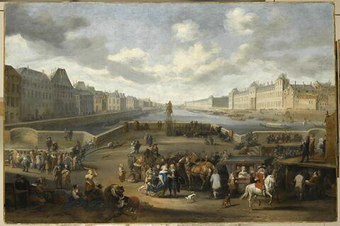Vue de Paris et de la Seine, prise du milieu du Pont-Neuf. À droite, le palais du Louvre