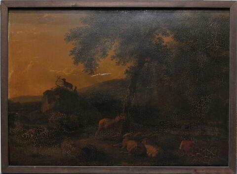 Paysage avec chèvres et moutons