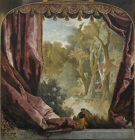 Composition décorative, avec rideaux, paysage et animaux
