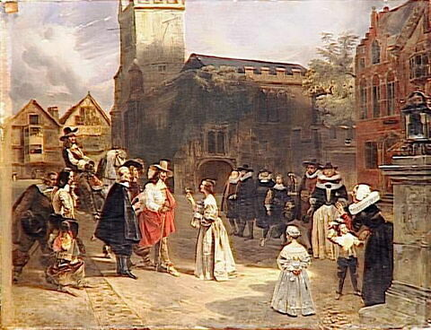 Charles Ier recevant une rose des mains d'une jeune fille,au moment où il est conduit prisonnier au