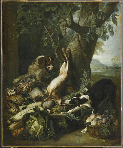 Gibier mort, légumes, fruits et deux chiens